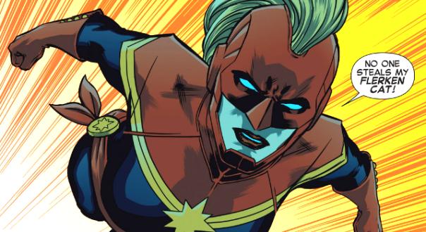 O visual atual da Capitã Marvel: em breve nos cinemas.