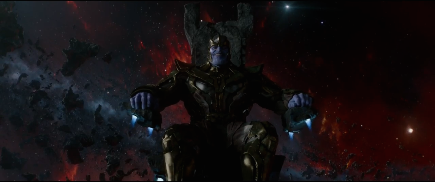 thanos in throne in guardians of the galaxy