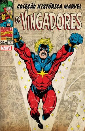 O Capitão Marvel estrela a capa do Volume 01 da Coleção Histórica: Vingadores.