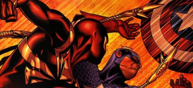 O Homem-Aranha versus o Capitão América em Guerra Civil nos quadrinhos.