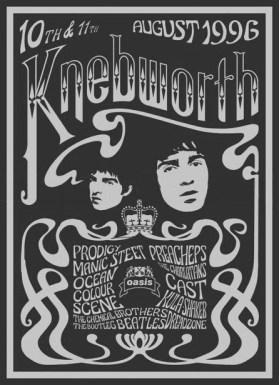 Poster de Knebworth de 1996: Oasis como atração principal.