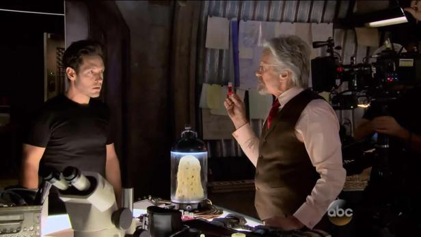 ant-man official scott lang and hank pym in laboratory