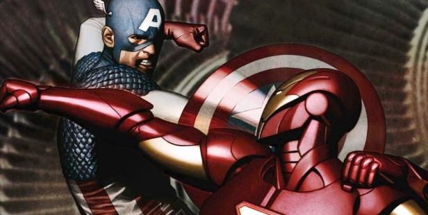 Capitão América versus Homem de Ferro em Guerra Civil.