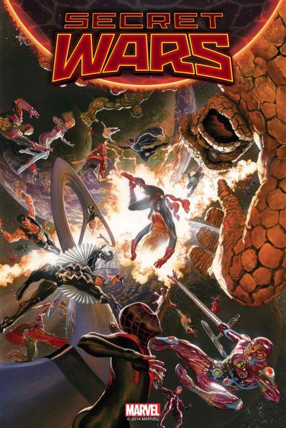 A capa da edição 1 de Secret Wars, por Alex Ross.