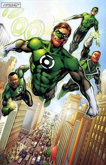 John Stewart, Hal Jordan, Kyle Rayner e Guy Gardner: os quatro Lanternas Verdes da Terra.
