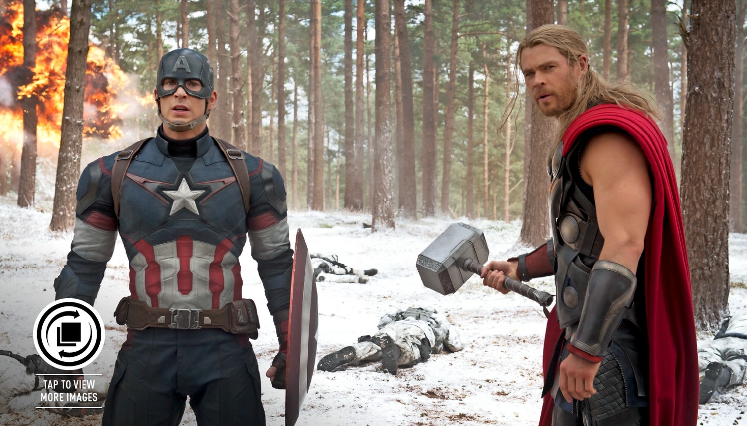ageofultron empire inside cap and thor stand in the snow (best)