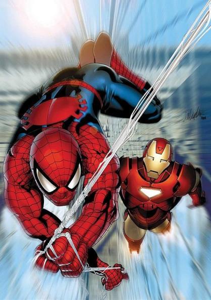 O Homem-Aranha e Homem de Ferro juntos no cinema. Arte de Joe Quesada.