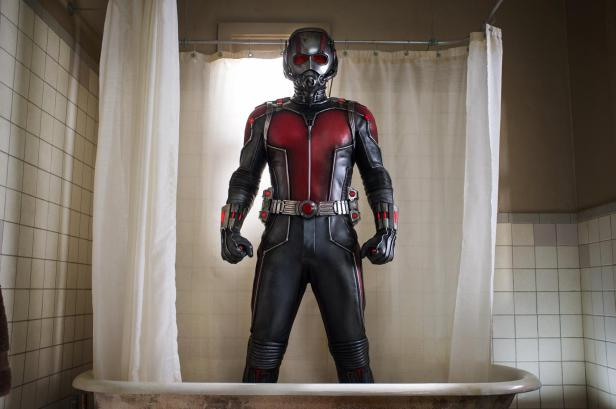 ant-man suited in the bath