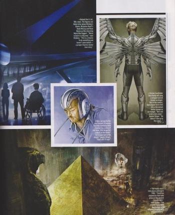 Artes conceituais do filme, com Cérebro, Anjo, Blackbird e o Egito.