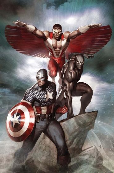Capitão América, Falcão e Pantera Negra estão no filme.