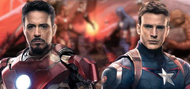 Homem de Ferro vs. Capitão América em Guerra Civil.