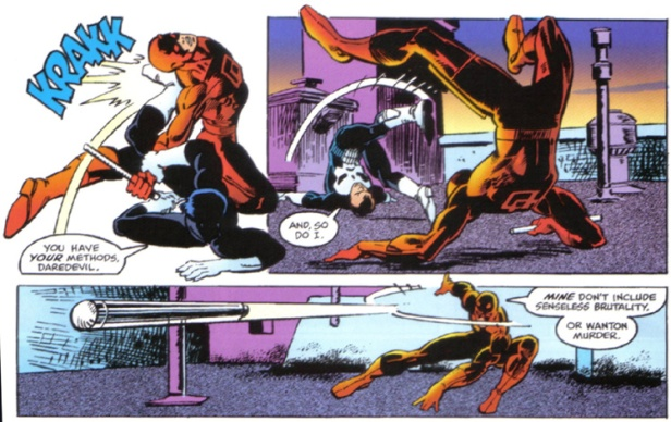 Demolidor versus Justiceiro em Daredevil 183: coreografias de Miller.