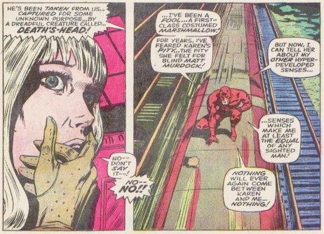 Karen Page e o Demolidor: mudança na dinâmica. Arte de Gene Colan.