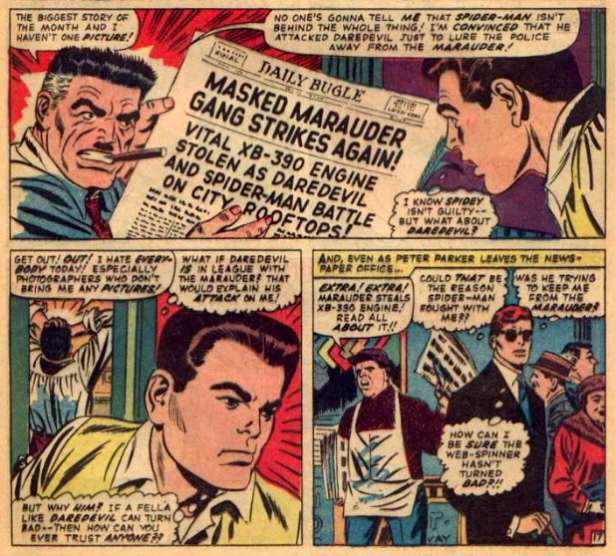 John Romita expõe seu talento para fisionomias comuns: J.J. Jameson, Peter Parker e Matt Murdock.