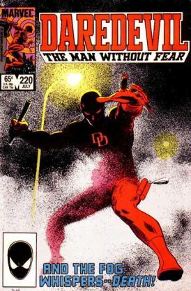 Beliíssima capa de Daredevil 220, por Mazzucchelli.