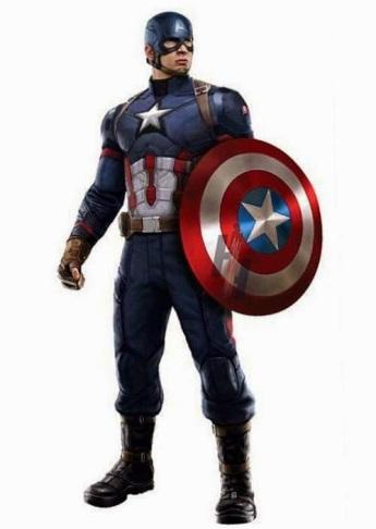 Arte com o uniforme do Capitão América: quase igual.