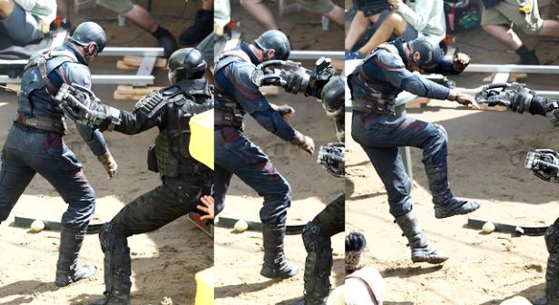 Filmagem de luta entre o Capitão e Ossos Cruzados.