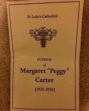Convite para o funeral de Peggy Carter.