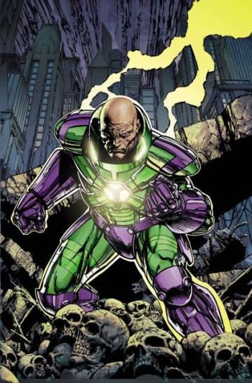 Lex Luthor e sua armadura nos quadrinhos. Arte de David Finch.