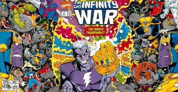 Magus na capa de Guerra Infinita (a revista). Arte de Ron Lin.