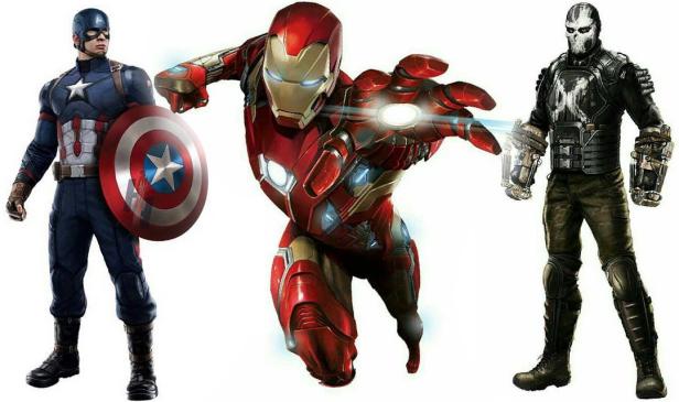 Artes promocionais de Capitão América, Homem de Ferro e Ossos Cruzados.