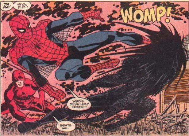 Demolidor e Homem-Aranha contra o Coração Negro. Arte de John Romita Jr.