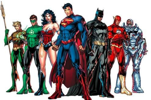 Liga da Justiça nos quadrinhos. Arte de Jim Lee.