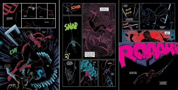 Nas trevas, Paolo Riviera mostra como os poderes de modo gráfico.