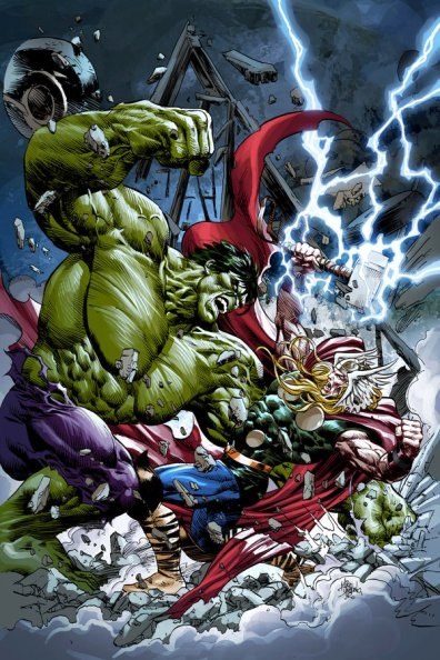 Hulk vs. Thor na arte de Mike Deodato Jr.