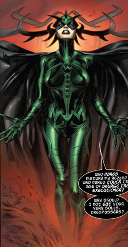 Hela, a rainha do Inferno.  Arte de Doug Braithwaite.