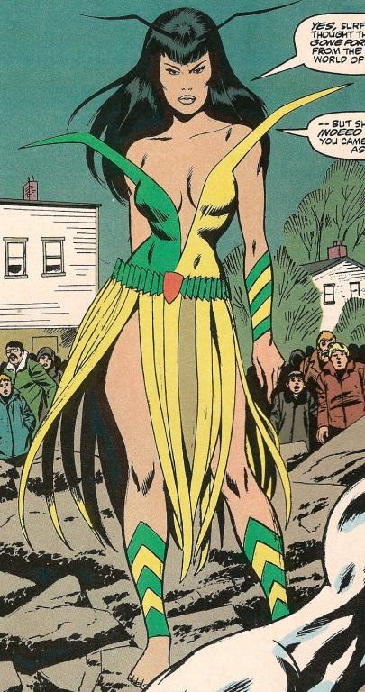 A versão original de Mantis nos anos 1970. Arte de Don Heck.