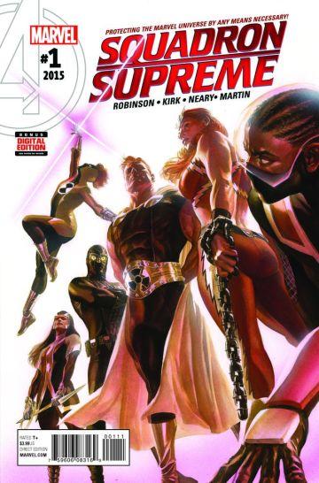A capa de Squadron Supreme 01, por Alex Ross.