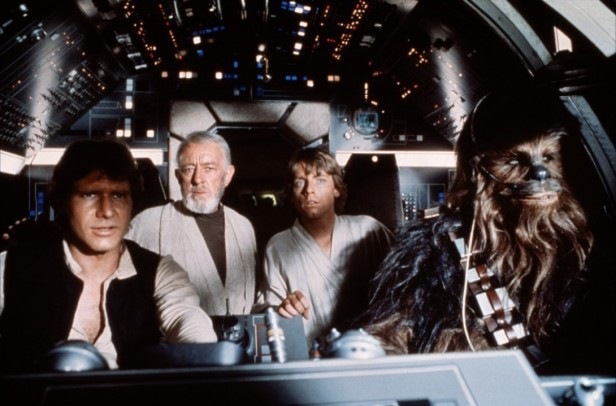 star wars han obi-wan luke and chewie on millenium falcon