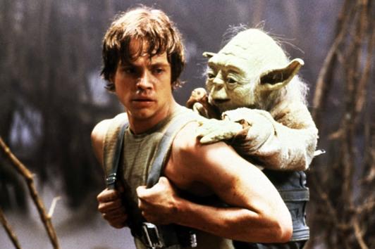 Luke em seu treinamento Jedi com Yoda.