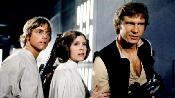 O trio de protagonistas: Luke Skywalker, Leia Morgana e Han Solo.