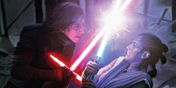 star wars the force awekens rey and ren in battle 2
