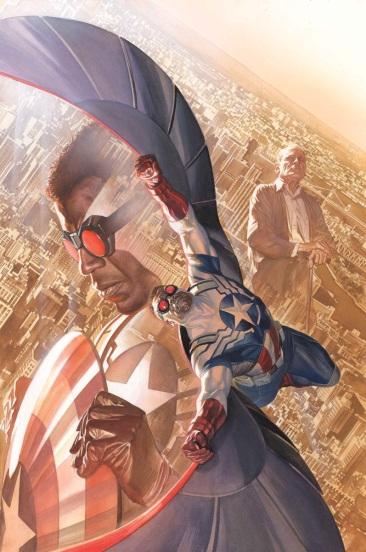Falcão como Capitão América. Arte de Alex Ross.
