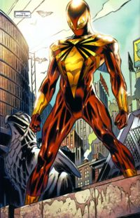 O uniforme dourado e vermelho do Homem-Aranha na Guerra Civil dos quadrinhos.