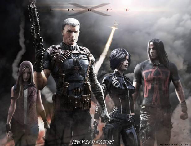 A arte para o filme: Vampira, Cable, Míssil, Dominó e Apache.