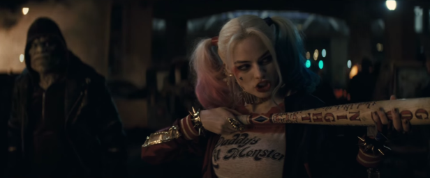 suicide-squad movie trailer 1 harley quinn baseball cane