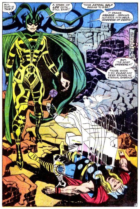 ... Hela, aqui roubando a alma de Thor, na edição 150 de sua revista. Arte de Jack Kirby.