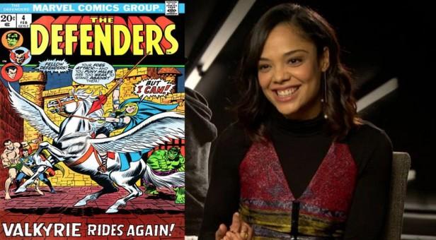 Tessa Thompson e a Valquíria na capa da revista dos Defensores.