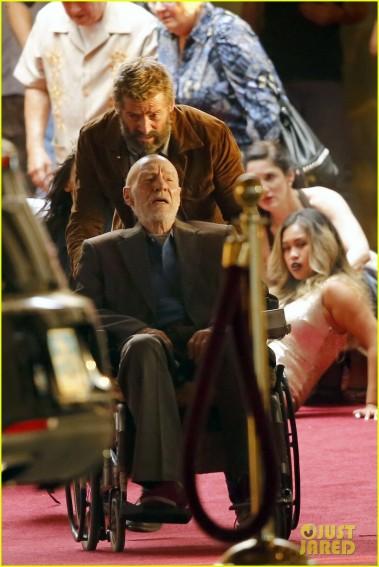 Hugh Jackman e Patrick Stewart na gravação de uma cena de Wolverine 3.