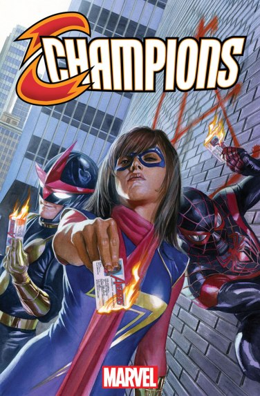 Capa variante de Champions 01: deixando os Vingadores para trás.
