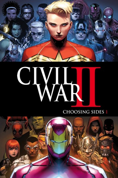 Banner de Guerra Civil II nos quadrinhos.