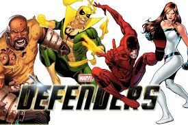 Os Defensores: Luke Cage, Punho de Ferro, Demolidor e Jessica Jones.