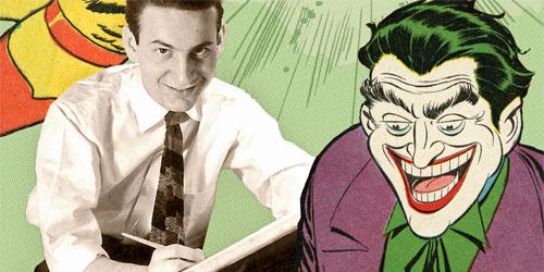 Jerry Robinson nos anos 1940 e o Coringa desenhado por ele.