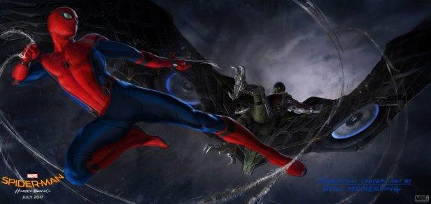 A incrível imagem do Homem-Aranha contra o Abutre do novo filme.