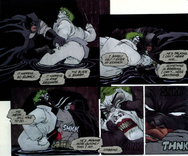 Batman versus Coringa em O Cavaleiro das Trevas. Arte de Frank Miller.