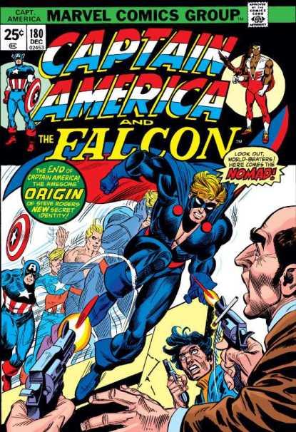 Steve Rogers se torna o Nômade, na capa de Captian America 180, de 1976. Arte de Gil Kane.